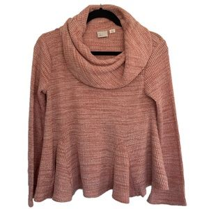 Anthropologie Postmark Small Blush Waffle Sweater
